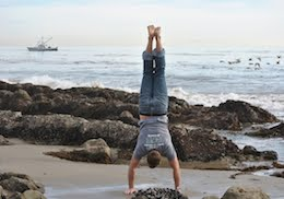 Handstands practice in Malibu